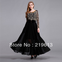 2013 spring autumn new fashoin vintage long sleeve full maxi dress high quality flower print patch work formal evening dress