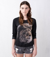 NEW 2013 women sweater lion printed fleece Sweater Shirt Tops Women's Loose Pullovers Casual Wear