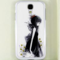 Black Dress Girl handmade 3D Rhinestone Crystal Bling diamond case for Samsung Galaxy S4 i9500 Free Shipping
