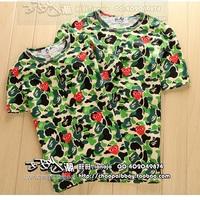 Lovers a bathing x cdg play green Camouflage love headcounts bape short-sleeve T-shirt