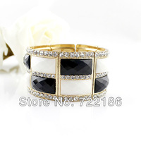 2013 Latest Fashion Design Rhinestone Colorful Alloy Wholesale Elastic Bangles and Bracelets