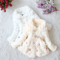 Free Shipping 2013 New Style Plush Girls Lace Long-sleeved Wool Sweater Coat /Children clothes 4 pcs/lot