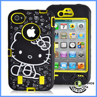 Hot sale  Laser Carving Cute Hello Kitty Pattern Shock proof Hybrid Case Cover for iphone 4 4s , Fedex Shipping