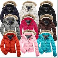Free Shipping New Winter Women Hooded Down Coat Fashion Brand Short Design Slim Waterproof Dwon Jacket  Outerwear With Fur
