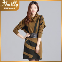 Amilly 2013 autumn women's fashion turn-down collar stripe batwing sleeve long-sleeve wool one-piece dress