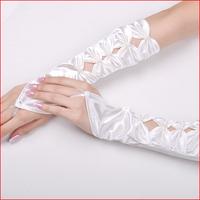 The bride wedding dress formal dress gloves dish bow fingerless mittens cutout gloves s23