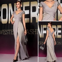 Free Shipping DORISQUEEN 30621 grey color v neck  formal evening dress 2013