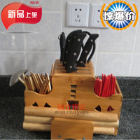Tool holder kitchen supplies multifunctional tool holder bamboo knife rack knife block bamboo tool holder chopsticks cage r tool