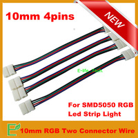 Free Shipping! 20pieces/lot 10mm 4pin No-welding Two Wire Connectors For SMD5050 RGB LED Strip Light