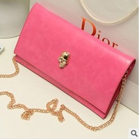 Korean style New Fashion Ladies Day clutches Women Retro One shoulder Chain  bag Cute Skull bag Free shipping