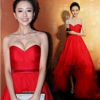 Sexy tube top low-high red wedding dress bride evening dress new arrival 562 2013
