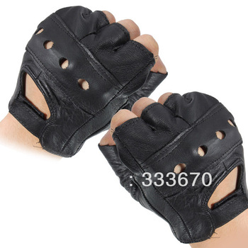 High Quality Medium Cowhide Bike Driving Motorcycle Motorbike Sport Fingerless Leather Gloves Free shipping