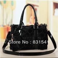 Winter heart velvet bag one shoulder handbag women's taping small bag black coin purse mobile phone bag
