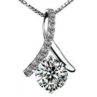 wholesale 100% pure 925 sterling silver platinum crystal pendant necklace for wedding jewelry HN004