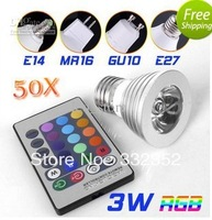 FREE  50pcsX E27 3W 4W 5W 16 Colors Changing RGB LED Lamp GU10/MR16/E14 RGB LED Bulb Lamp Spotlight with Remote Control