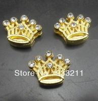 Wholesale 50pcs 8mm Golden Color crown Slide Charms DIY Accessories Fit Pet Collars Wristbands Belts
