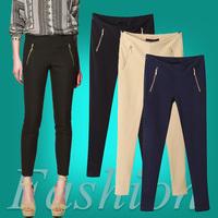 Hot Sale Fashion Fall New ZA American Apparel Women's Stretch Pencil Pants Ladies Slim Trousers Nevy Blue, Black,Khaki