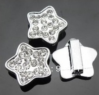 Slide Charms 50pcs 8mm full rhinestone Star shape free shipping Fit wristband or Pet Dog Cat Tag collar