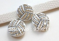 20pcs 8mm bling Volleyball Slide Charms Fit Pet Dog Cat Tag Collar Wristband