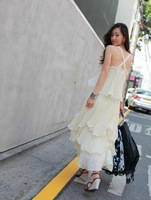 White chiffon full dress white swan full dress bohemia spaghetti strap one-piece dress beach dress lantern skirt