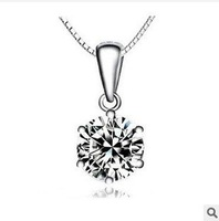 925 pure silver necklace hearts and arrows cubic zircon necklace