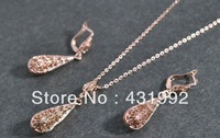 Fashion hollow gold necklace earring set lover's tears