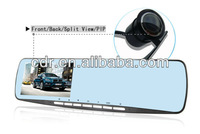 "Free Shipping 2013 new blue mirror 4.3"" dual camera car dvr with dual cameras Allwin F20 Chipset and Sumsung 4AW Sensor"