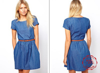 DS0145  Free shipping 2013 New Arrival Women high quality breif denim dress figuring type women dress attched to a belt  retail