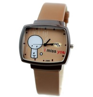 Min.order is 1pcs (mix order) Brown square watches silicone strap watch - 64376