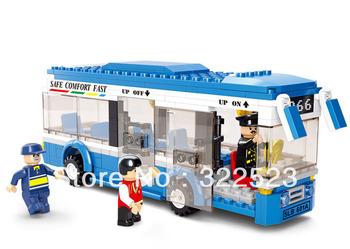 Best Selling!  Children's Assembling building blocks toys City bus bricks  +Free Shipping