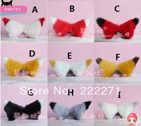 1 Pair Long hair 12cm Anime Cosplay Fox Ears Cat ears Hair Clip Party Headwear 10  color red black coffee white Free Shipping