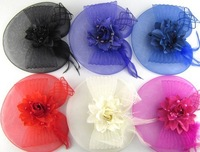 Free shipping Newest sytle Feather and flower Fascinator Hat with black headband- wedding, ladies day 3pcs/lot
