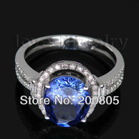 Jewelry Sets Vintage Oval 8x10mm 14Kt White Gold Diamond Blue Tanzanite Ring G090795
