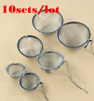 Free Shipping 10sets/lot 3size Stainless Steel Sphere Locking Spice Tea Ball Strainer Mesh Infuser Filter