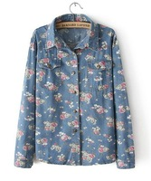 2014 European Style Women Flower Floral Printed  Denim Full Sleeves Jean Blouse Shirt Blue