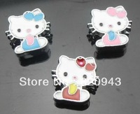 8mm 50pcs Zinc alloy mixed color kitty with glasses slide charm can come through 8mm band fit wristband pet collar and key chain