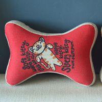 Bone Car Travel Seat NeckRest Headrest Pillow Cushion 1 Pcs Red Cute Kitty PQ810