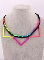 New Free Shipping Trigonometric neon color exaggerated necklace female short design fashion accessories fashion decoration