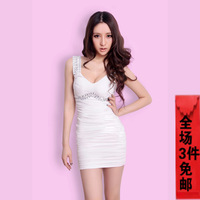 Fashion slim sexy low-cut sexy small formal dress women one-piece dress small short skirt