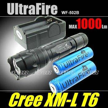 HOT SALE  Ultrafire 502B CREE XML T6 1000 Lumens 5-Mode Led Flashlight(2*18650+Charger)