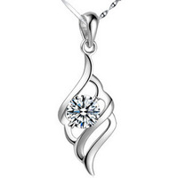 100% genuine 925 sterling silver platinum pendant necklace fine jewelry  HN021