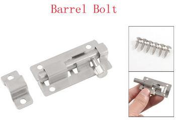 "Home Door Drawer Security Lock Barrel Bolt Silver Tone 2.4"" Long 4pcs"