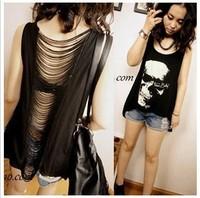 2014 new women T shirts Skull Punk Singlet Dress Vintage Tank Pop Sexy Top long Tee T-Shirt W4179