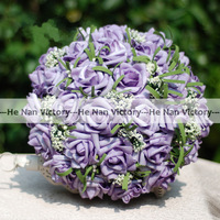 Free Shipping Wedding Bridal Favour Flower Girls Artificial Hydrangea Posy, Wedding Bouquet, Wedding Flowers - Purple