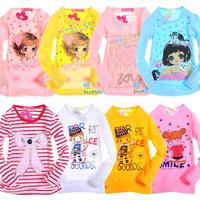 Retail 1 pcs Spring Autumn New 2014 Children Long-Sleeve T-Shirts Cotton Baby & Kids Girl T Shirt Cartoon Print Fashion CC0552