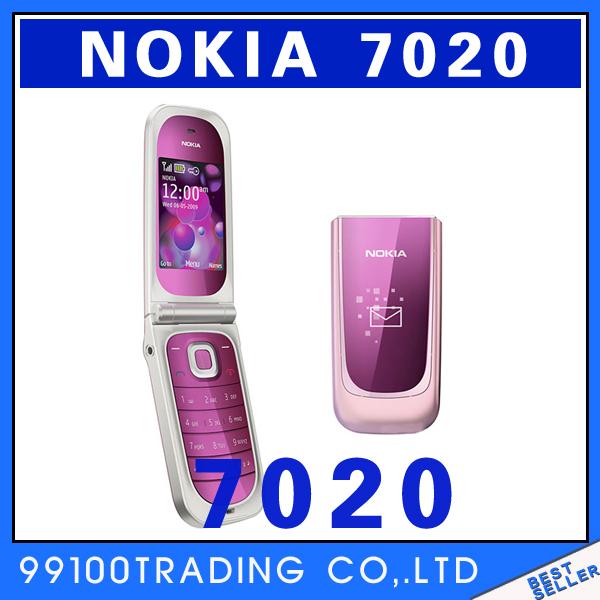 Original unlocked Nokia 7020 mobile phone 2MP FM JAVA Flip phone Russia keyboard Good quality refurbished Free Shipping(China (Mainland))