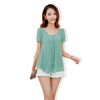 Free shipping 2013 new Sleeved chiffon shirt Slim Korean summer new women's large size quality cool chiffon shirt blouse 1080