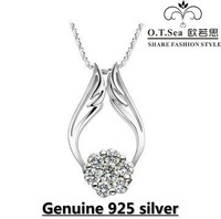 high quality genuine 925 sterling silver platinum angel wing women crystal pendant necklace fine jewelry HN024