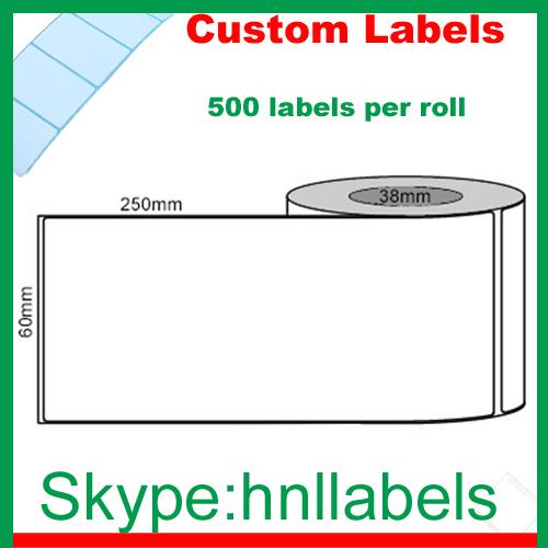 Custom Labels 60mmX250mm/1 O/P Plain Poly Roll Permanent, 500Lpr, 76mm core(China (Mainland))