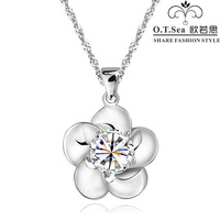 100% pure 925 sterling silver platinum flower pendant necklace wedding jewelry HN025